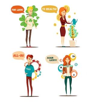 Conjunto de situaciones afortunadas de cuatro personajes humanos planos aislados y elementos conceptuales de lotería de póquer árbol ilustración vectorial