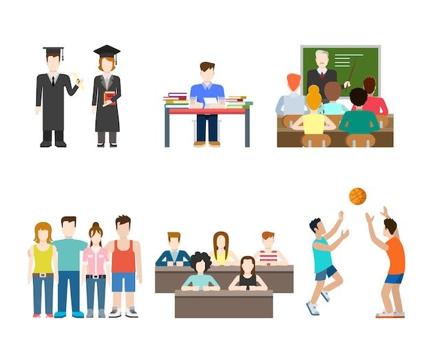 Conjunto de situaciones de colegio universitario de la escuela del conocimiento de la educación de la gente moderna de estilo plano. estilo de vida de hombres mujeres.
