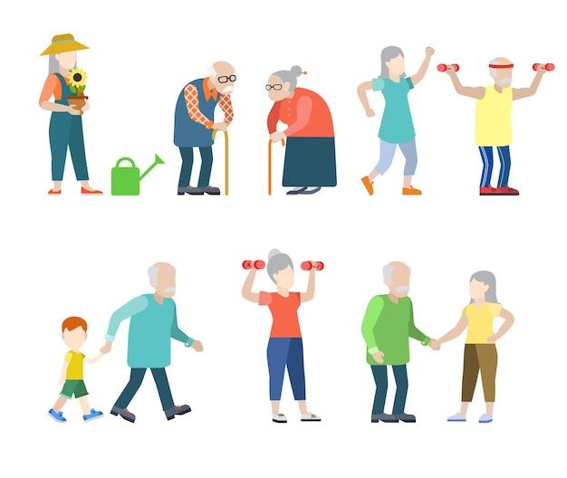 Conjunto de situaciones de oldies de personas modernas de estilo plano. gris hombres mujeres abuelita abuelo estilo de vida saludable.