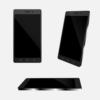 Conjunto de smartphone realista para la ilustración del vector.
