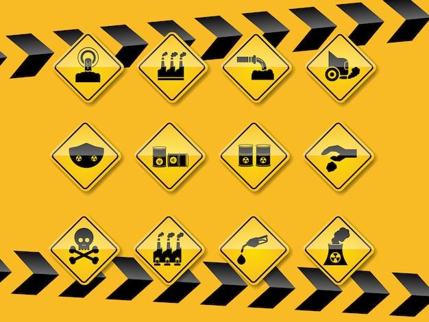 Conjunto de smog, iconos de contaminación