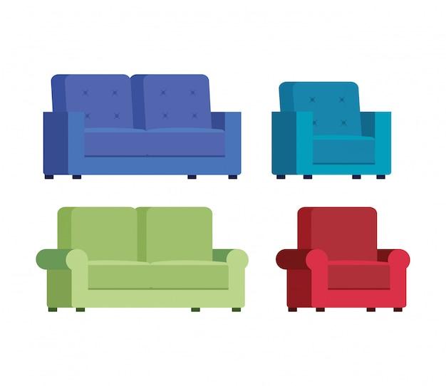 Conjunto de sofás cómodos iconos