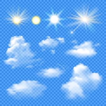 Conjunto de sol y nubes
