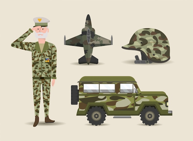 Conjunto soldado y ejército de fuerza militar.