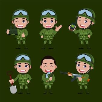 Conjunto de soldados del ejército hombre en uniforme con acción de diferencia.