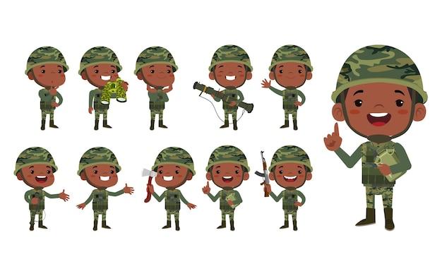 Conjunto de soldados del ejército en uniforme con acción de diferencia.
