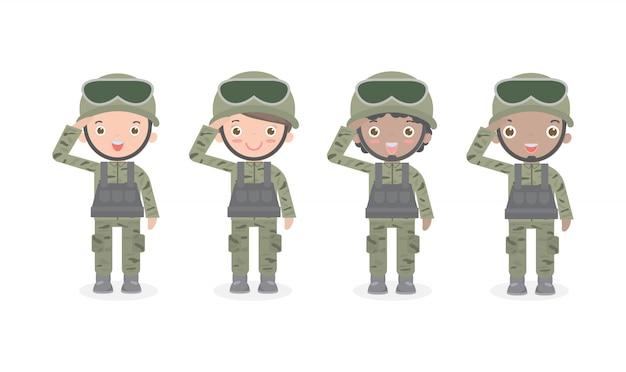 Conjunto de soldados. hombres y mujeres. diseño de personaje de dibujos animados plano aislado, grupo del ejército de ee. uu.