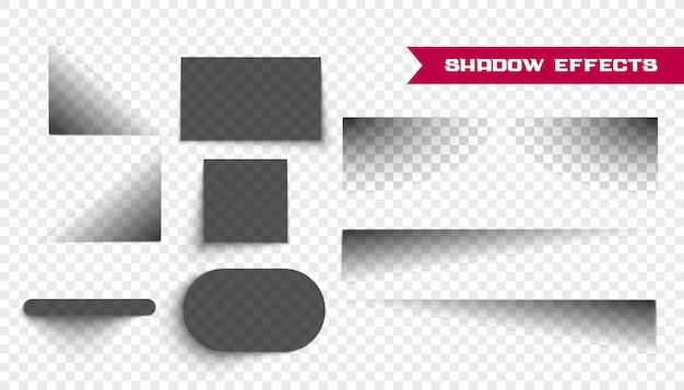 Conjunto de sombras realistas en transparente
