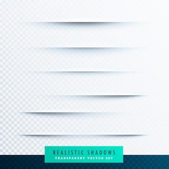 Conjunto de sombras realistas transparentes de papel