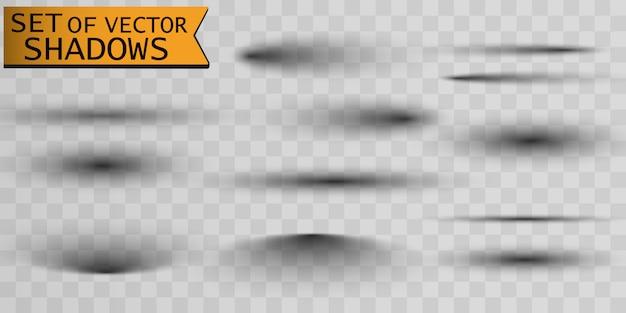 Conjunto de sombras separador de página con sombra transparente aislada.