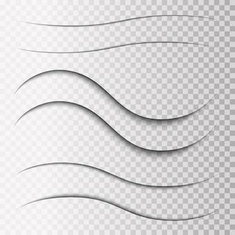 Conjunto de sombras transparentes superpuestas. elementos de diseño realistas