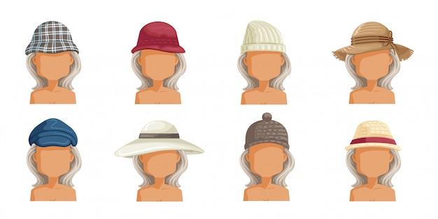 Conjunto de sombrero de mujer mayor. colección de cabeza femenina.