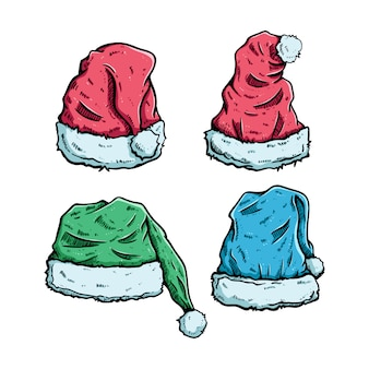 Conjunto de sombrero de la navidad con estilo dibujado a mano coloreado