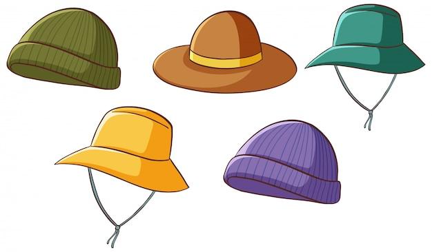Conjunto de sombreros aislados