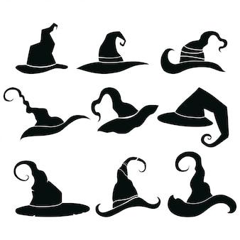 Conjunto de sombreros de brujas. colección de tocados de magos.