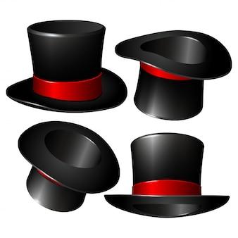 Conjunto de sombreros cilíndricos de mago negro