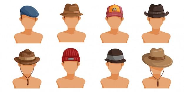 Conjunto de sombreros para hombres. colección de cabeza de hombre. userpics de peinado diferente masculino.