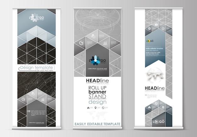 Conjunto de soportes para banners enrollables, plantillas de diseño plano, concepto de negocio, vertical empresarial