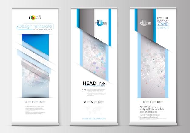 Conjunto de soportes para banners enrollables, plantillas de diseño plano, estilo geométrico abstracto