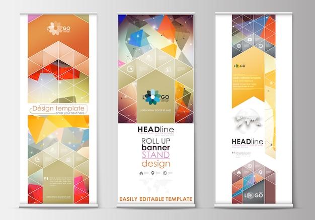 Conjunto de soportes para banners enrollables, plantillas planas, estilo geométrico