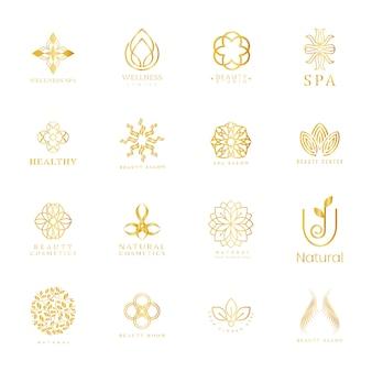 Conjunto de spa y logo de belleza.