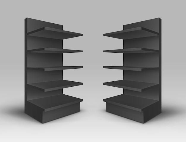 Conjunto de stands comerciales de exposición vacía en blanco negro estantes de tiendas con estantes escaparates aislados sobre fondo