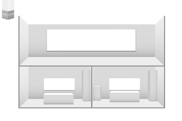 Conjunto de stands de exposición 3d. soporte publicitario en blanco blanco con escritorio. cuadrado geométrico en blanco blanco. presentación en sala de conferencias. plantilla en blanco.