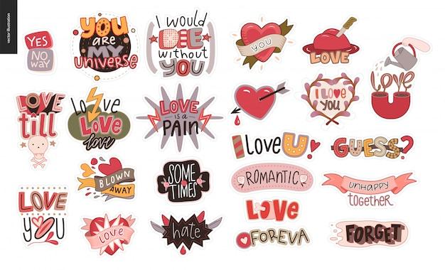 Conjunto de stikers de amor contemporáneos.