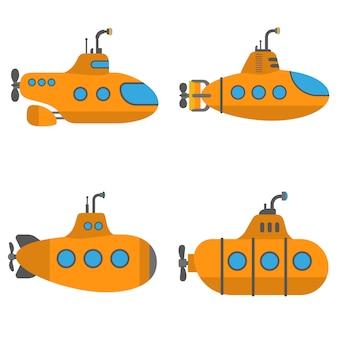 Conjunto de submarino periscopio, estilo plano