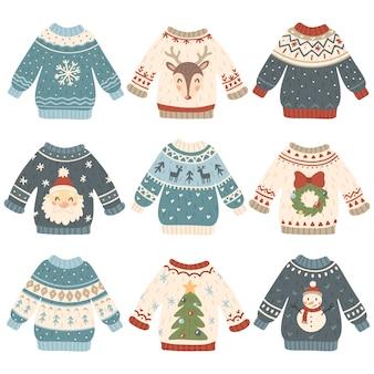 Conjunto de suéteres navideños feos