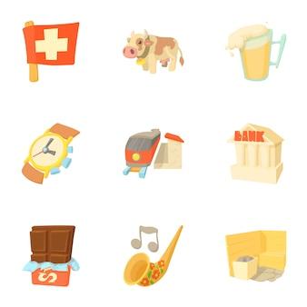 Conjunto de suiza, estilo de dibujos animados