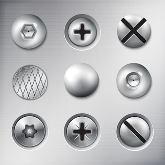 Conjunto de sujetadores adjuntos realistas tornillos pernos clavos en textura de metal aislado