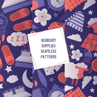 Conjunto de suministros de dormitorio de patrones sin fisuras equipo de noche y concepto de ropa. máscara para dormir y sombrero, pijama, reloj, luz nocturna, taza de bebida caliente.