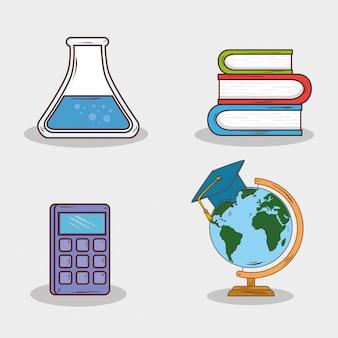 Conjunto de suministros de educación sobre fondo blanco.