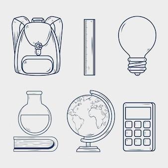 Conjunto de suministros educativos, estilo de línea.