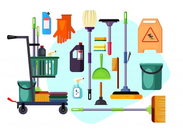 Conjunto de suministros y herramientas de limpieza.