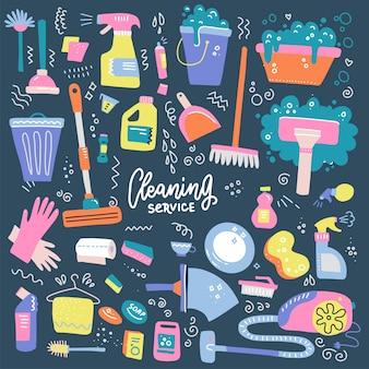 Conjunto de suministros de limpieza del hogar iconos aislados en estilo plano dibujado a mano.