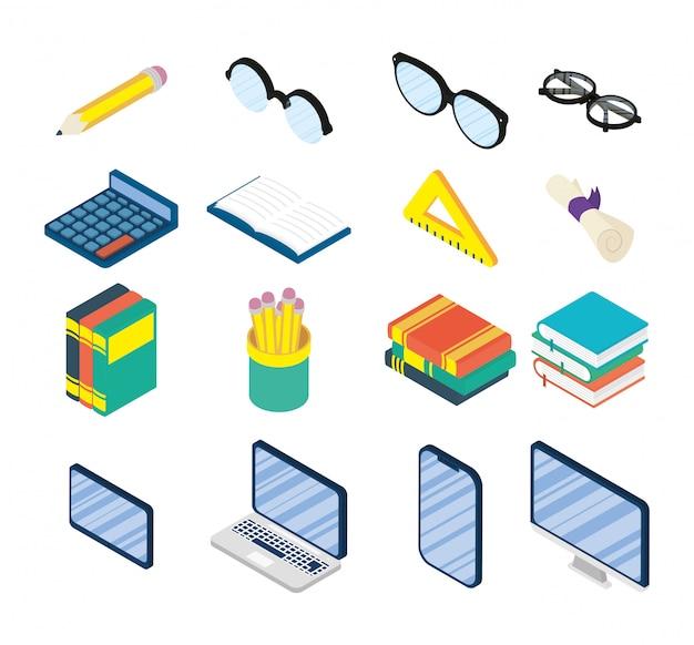 Conjunto de suministros en línea de educación establece iconos