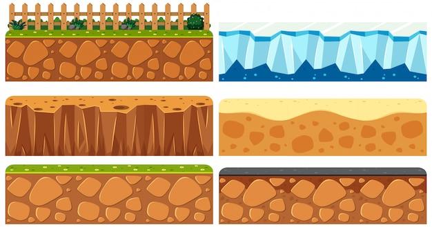 Conjunto de superficie del suelo