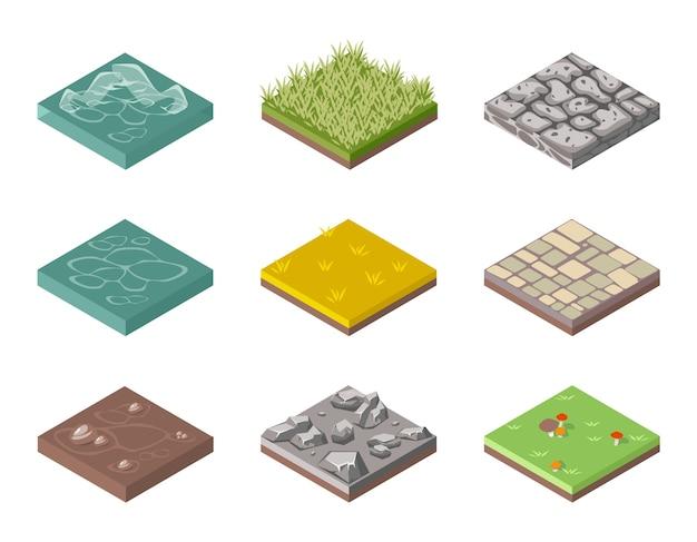 Conjunto de superficies de suelo. hierba, rocas y agua. diseño web paisajístico. ilustración vectorial