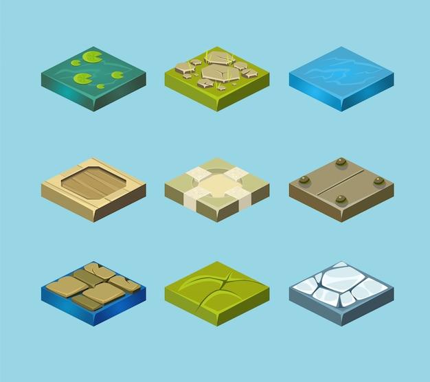 Conjunto de superficies de tierra. hierba, rocas y agua. diseño web paisajístico.