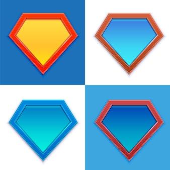 Conjunto de superhéroe. conjunto de placa de superhéroe en blanco.