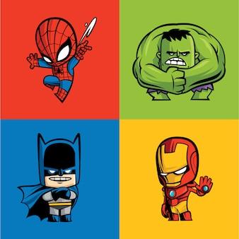 Conjunto de superhéroes cómicos.