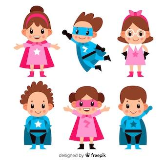 Conjunto de superheroes de niños