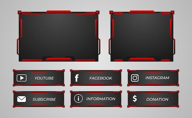 Conjunto de superposición de panel de streamer twitch color rojo Vector Premium