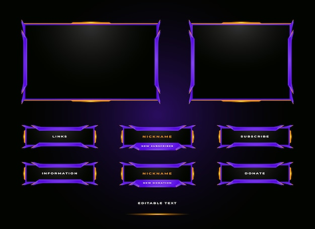 Conjunto de superposición de panel de streamer de twitch