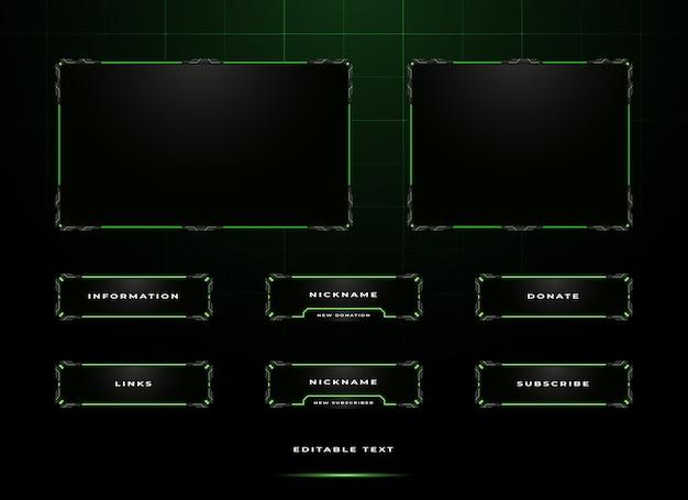 Conjunto de superposición de panel de streamer de twitch Vector Premium