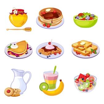 Conjunto de surtido de platos de desayuno diferentes de iconos aislados