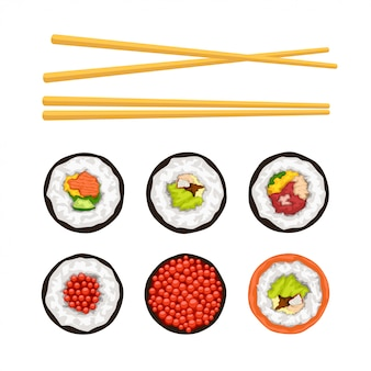 Conjunto de sushi aislado