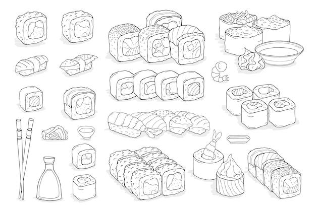 Conjunto de sushi, rollos, wasabi, salsa de soja, jengibre, palillos.